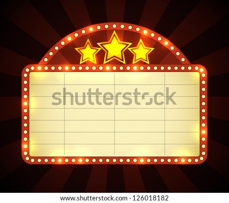 Brightly glowing retro cinema neon sign. EPS10 vector.