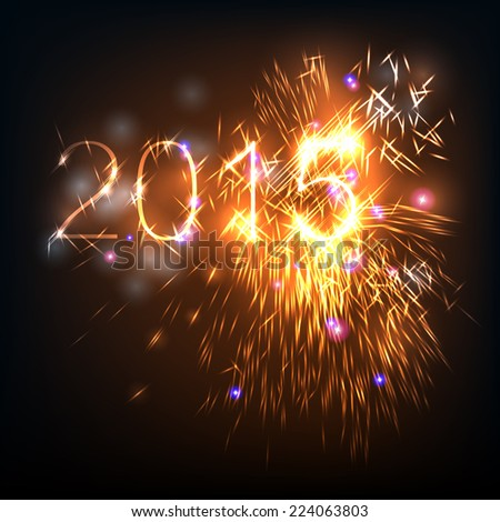2015 Brightly Vector Fireworks and Salute- vector isolated on black background