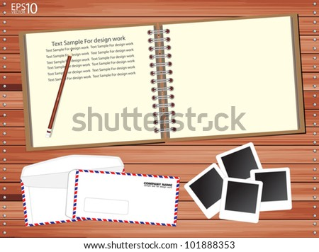 Brown Notebook with a lot of photos and envelopes on wooden floor, Vector template
