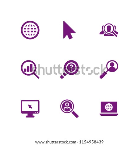 9 browser icons in vector set. search, cursor and www illustration for web and graphic design