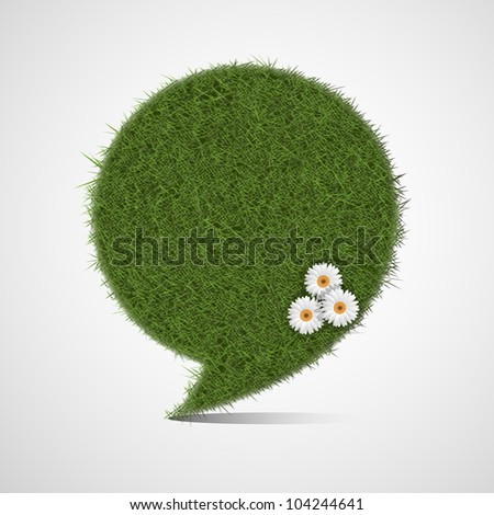 Bubble for speech made of stylized green grass