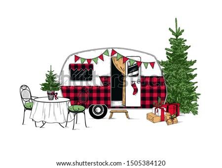 stock vector  buffalo plaid christmas camper vintage vector illustration engraved design element on a white 1505384120