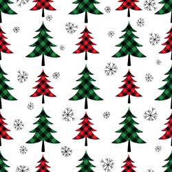 Buffalo plaid Christmas trees.   Festive seamless pattern on a white background. Vector illustration. Country style.