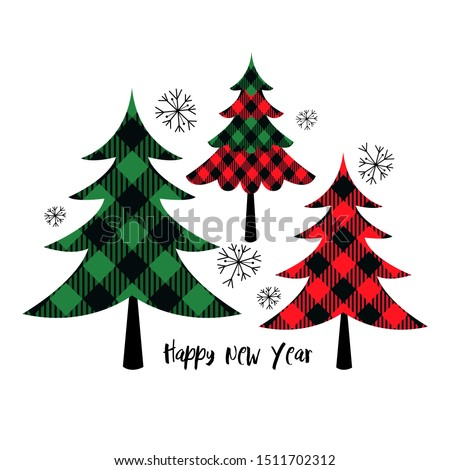 Buffalo plaid Christmas trees. Vector set or holiday card. Isolated design objects on a white background.