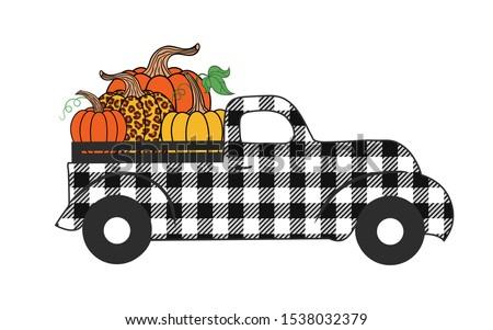 Buffalo plaid truck with pumpkins. Fall autumn card.   Happy Thanksgiving . Harvest season. Vector illustration.