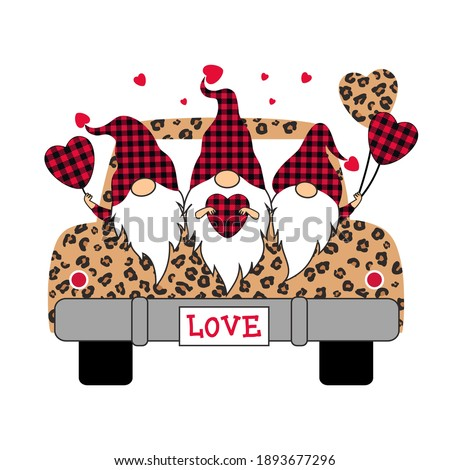 Buffalo plaid Valentines Gnomes on a leopard truck. Holiday card. Vector illustration.