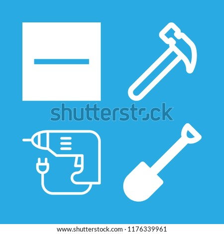 4 build icons with substract and hammer in this set