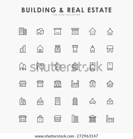 36 building and real estate line icons