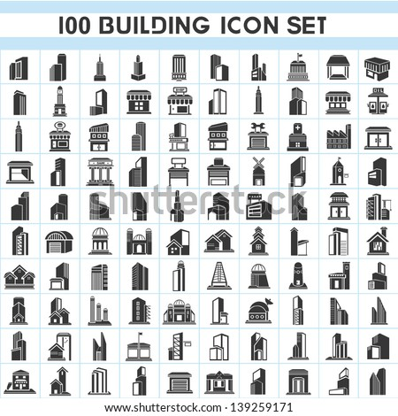 100 building icons set, real estate icons set, vector