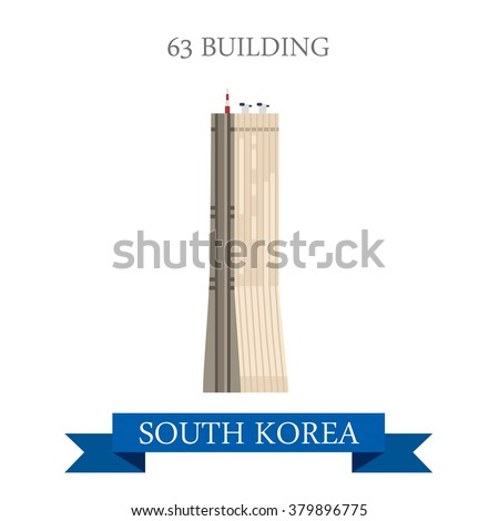 63 building in Seoul South Korea. Flat cartoon style historic sight showplace attraction web site vector illustration. World countries cities vacation travel sightseeing Asia collection.