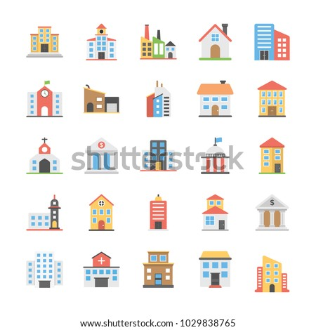 Buildings Flat Vector Icons Pack