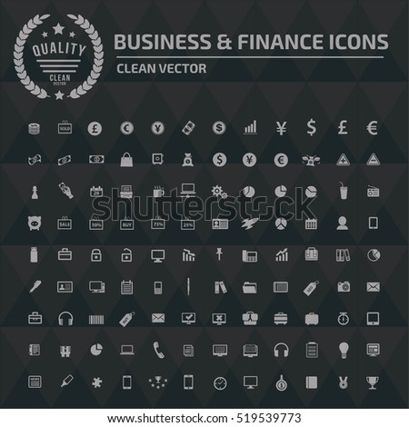 Business and finance icon set, clean vector