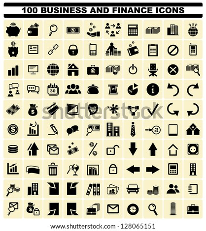 100 business and finance icons