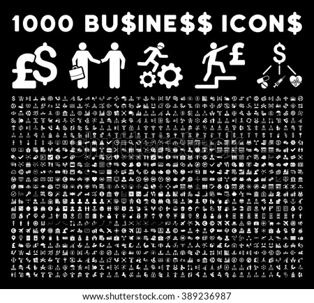 1000 business, bank, trade vector icons. Set style is flat white pictogram symbols on a black background.