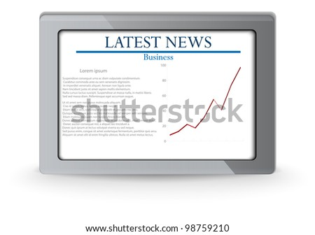 business chart on tablet . vector