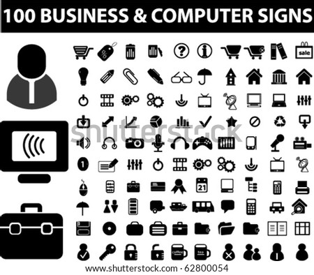 100 business & computer signs. vector
