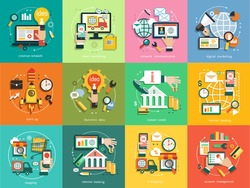 Business concept. Set icons, email marketing, network communication, digital marketing, start up, business idea, contact center, internet banking, shopping, account management.