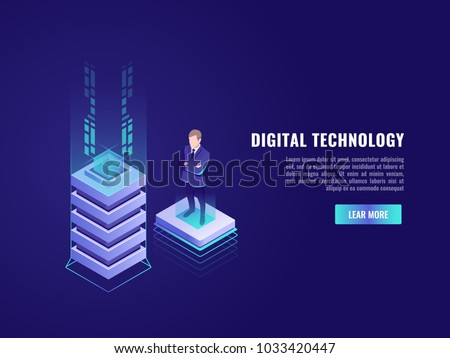 Business concept with computer technology element and business who stay on flying platform, data center, database server room rack administrator isometric vector illustration