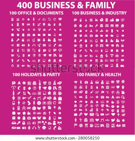 400 business, family, holidays, office, party icons set, vector