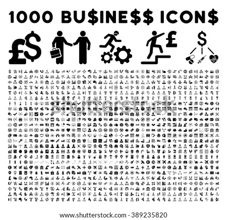 1000 business icons and bank service pictograms. Style is flat black symbols on a white background.