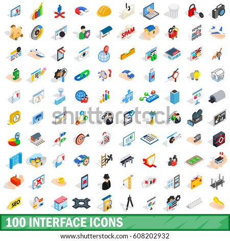 100 business icons collection set. Isometric 3d illustration of 100 business vector icons collection set