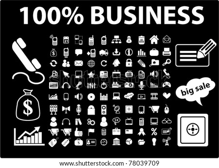 100% business icons, signs, vector illustrations
