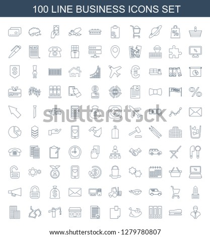 100 business icons. Trendy business icons white background. Included line icons such as bust, stapler, binder, chicken, glued note, document. business icon for web and mobile.