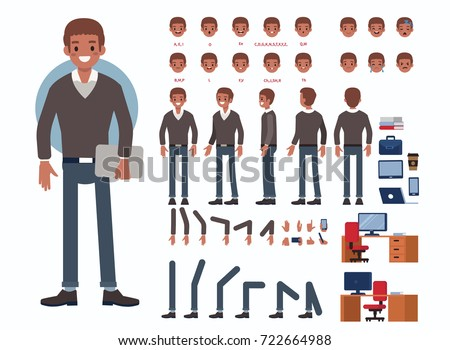 Business man character constructor and office objects for animation.  Set of various men's poses, faces, mouth, hands, legs. Flat style vector illustration isolated on white background.