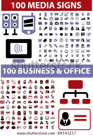 200 business & media icons, signs, vector illustrations set