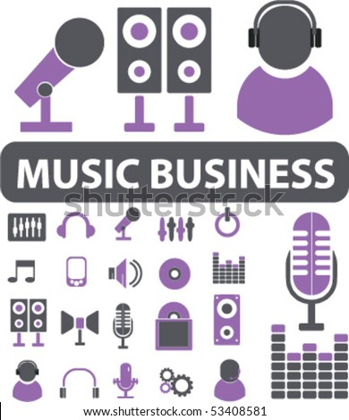 20 business music signs vector