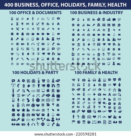 400 business, office, holidyas, family, health icons, signs, illustrations, silhouettes set, vector on blue background