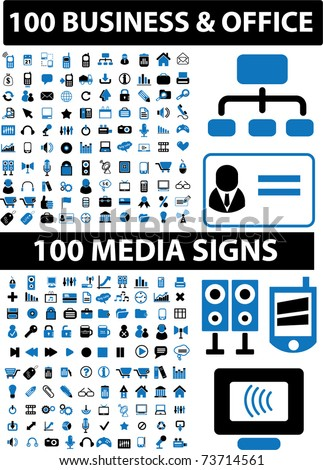 200 business & office & media signs, vector