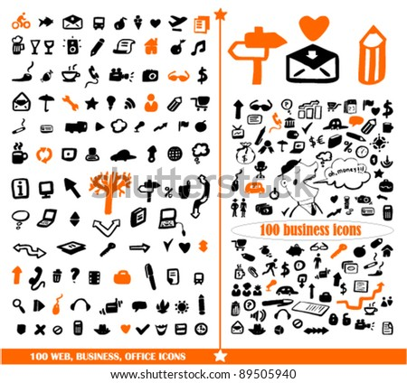 200 business & office & web signs, vector