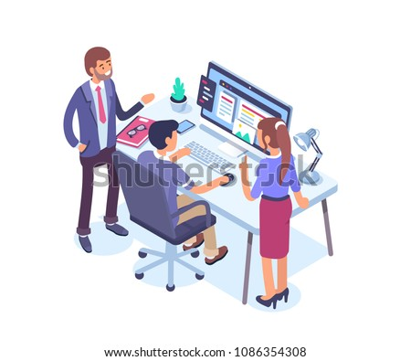 Business people characters working together on project. Teamwork and partnership concept.  Flat isometric vector illustration isolated on white background.