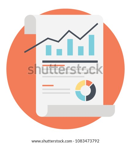 Business progress report or statistic report flat icon