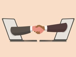 Business shaking handsthrough laptop screens , finishing up meeting - businessmen partnership handshaking after  successful deal - video communication technology and video call application concept