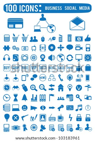100 Business social media icons - vector icons