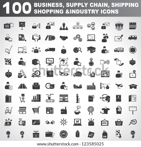 100 business, supply chain, shipping, shopping and industry icons