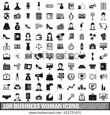 100 business woman icons set in simple style for any design vector illustration