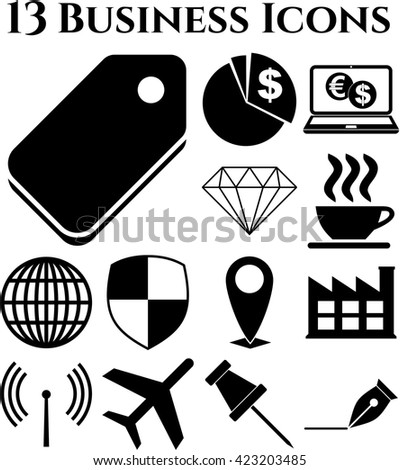 13 businessicon set. Quality Icons.