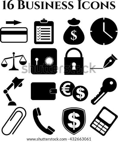 16 businessicon set. Quality Icons.