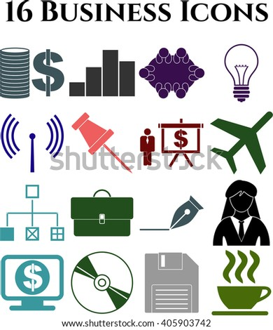 16 businessicon set. Set of web Icons.