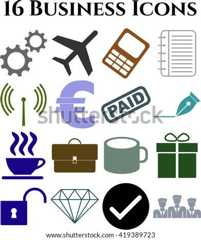 16 businessicon set. Set of web Icons.