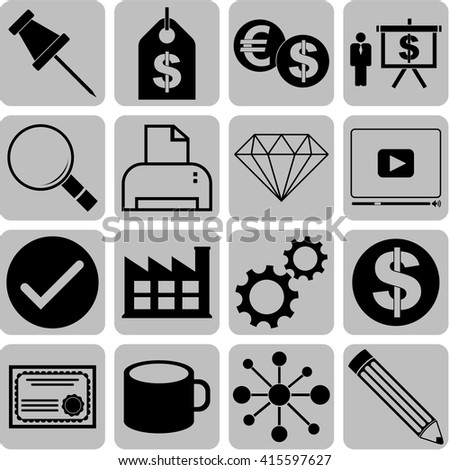 16 businessicon set. Universal and Standard Icons.