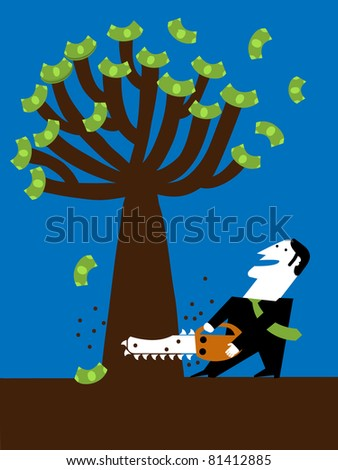 businessman cut tree of the money with chainsaw
