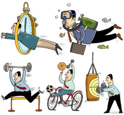 5 businessmen making sport - funny illustrations