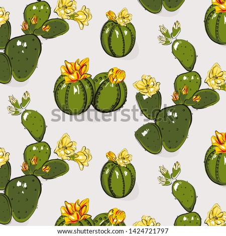 Cactus greenery bloom yellow grey  summer pattern. Contrast Hand-drawn succulent cactus with flowers. Bright floral Sketch texture. Funny cacti mexican nature decoration