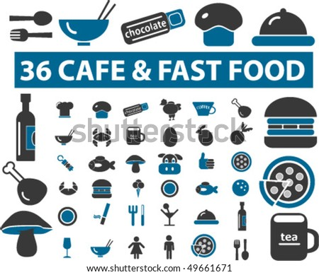 36 cafe & fast food signs. vector