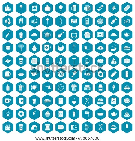 100 cafe icons set in sapphirine hexagon isolated vector illustration