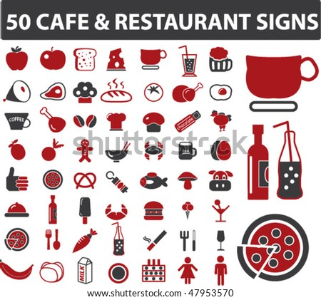 50 cafe & restaurant signs. vector - stock vector